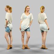 투명한 상단과 청바지 짧은 소녀 3d model