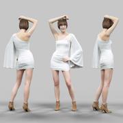 Fille en robe blanche posant 3d model