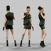 Heißes Mädchen in Lederrock und Jacke 3d model