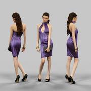 Горячая девушка в латексном платье 3d model