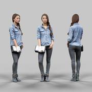 청바지 셔츠와 검은 바지를 입고 소녀 3d model