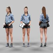 가죽 반바지와 청바지 재킷에 소녀 3d model