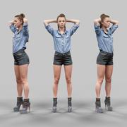 Menina com as mãos atrás da cabeça em shorts de couro 3d model
