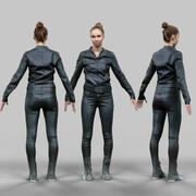A-poserande flicka i blank svart klädsel 3d model