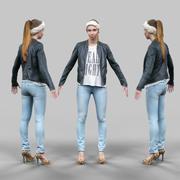 청바지 가죽 재킷과 두건 A- 포즈에 귀여운 소녀 3d model