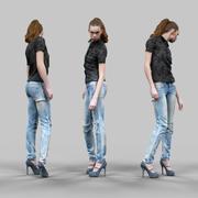 청바지와 검은 탑의 소녀 포즈 3d model