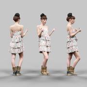 竖起大拇指的女孩穿着花朵图案连衣裙 3d model