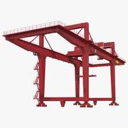 Козловой контейнерный кран на рельсах Красный 3D Модель 3d model