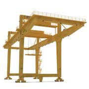Козловой контейнерный кран на рельсах желтый 3d model