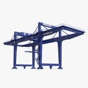 Козловой контейнерный кран на рельсах синий 3d model