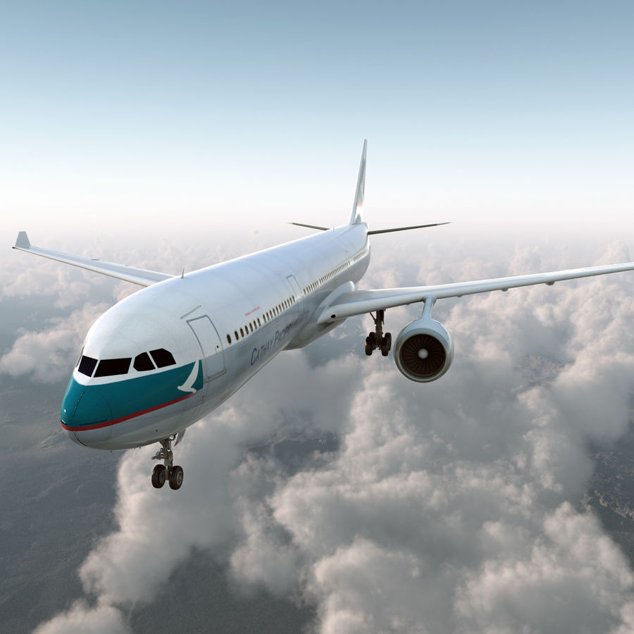 Jet Uçağı Airbus A330-300 Cathay Pacific royalty-free 3d model - Preview no. 7