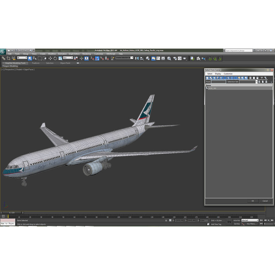 Jet Uçağı Airbus A330-300 Cathay Pacific royalty-free 3d model - Preview no. 41