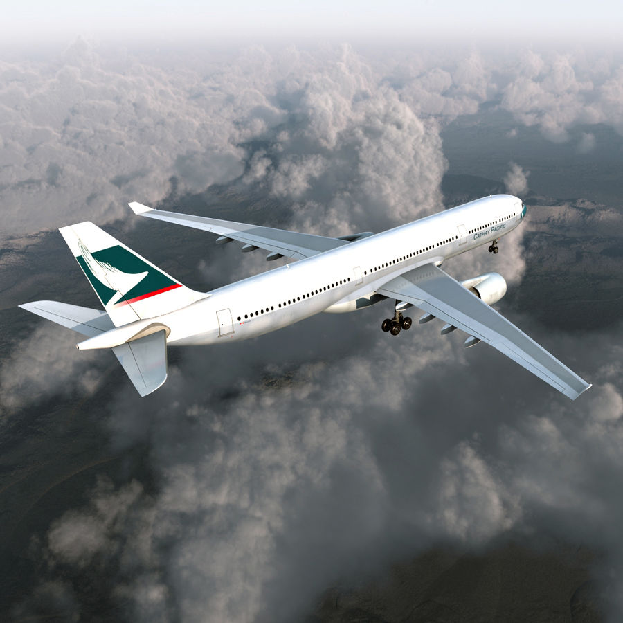 Jet Uçağı Airbus A330-300 Cathay Pacific royalty-free 3d model - Preview no. 5