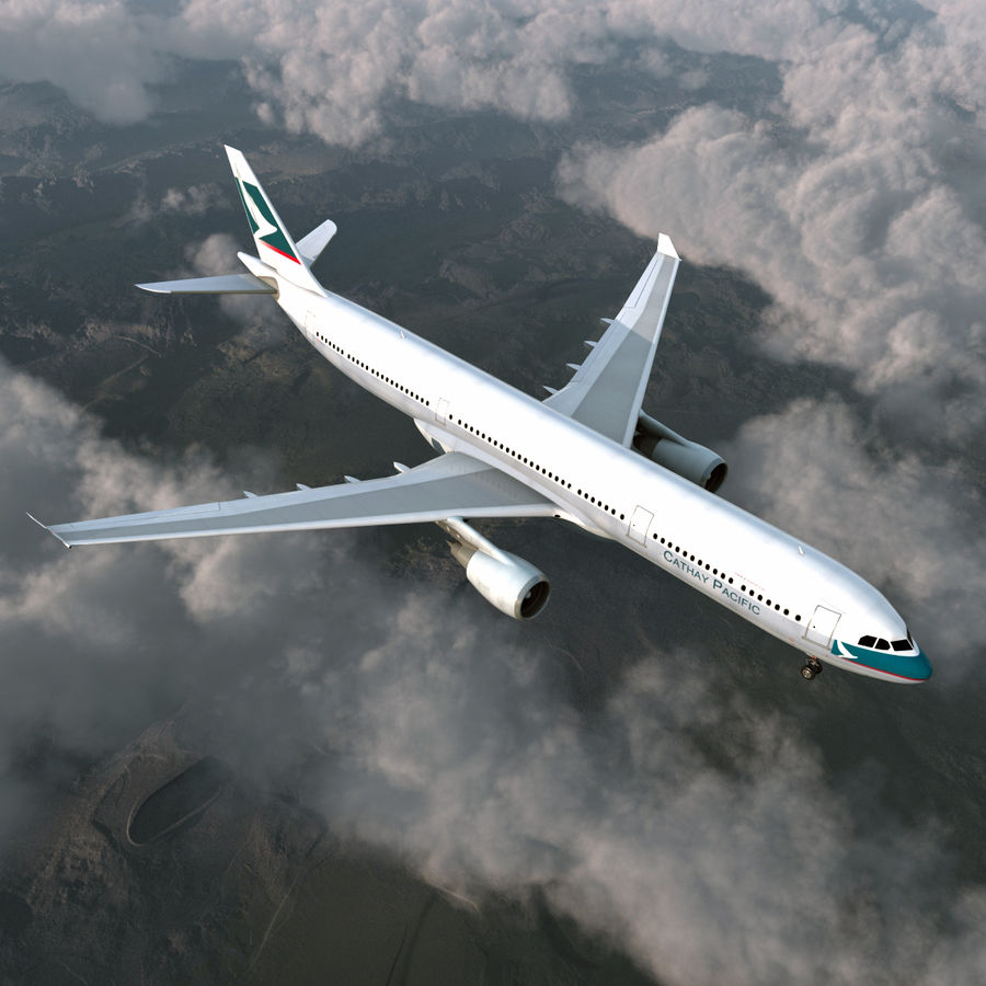 Jet Uçağı Airbus A330-300 Cathay Pacific royalty-free 3d model - Preview no. 4
