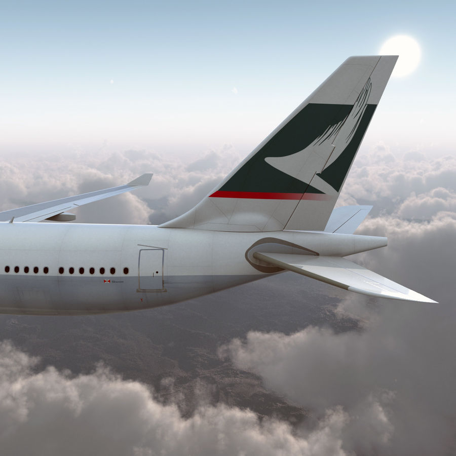 Jet Uçağı Airbus A330-300 Cathay Pacific royalty-free 3d model - Preview no. 11