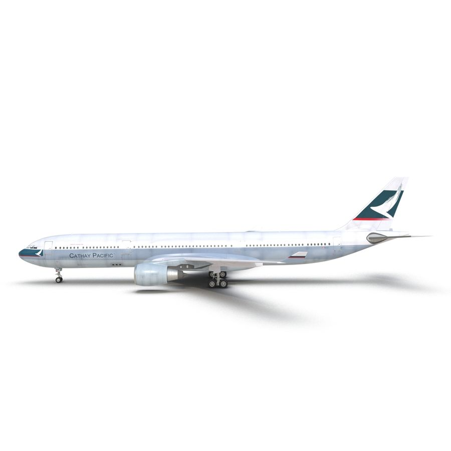 Jet Uçağı Airbus A330-300 Cathay Pacific royalty-free 3d model - Preview no. 13