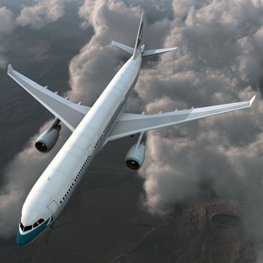 Jet Uçağı Airbus A330-300 Cathay Pacific royalty-free 3d model - Preview no. 3