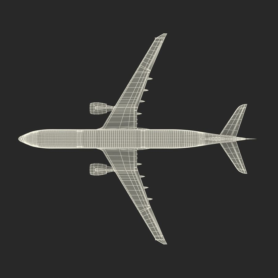 Jet Uçağı Airbus A330-300 Cathay Pacific royalty-free 3d model - Preview no. 42