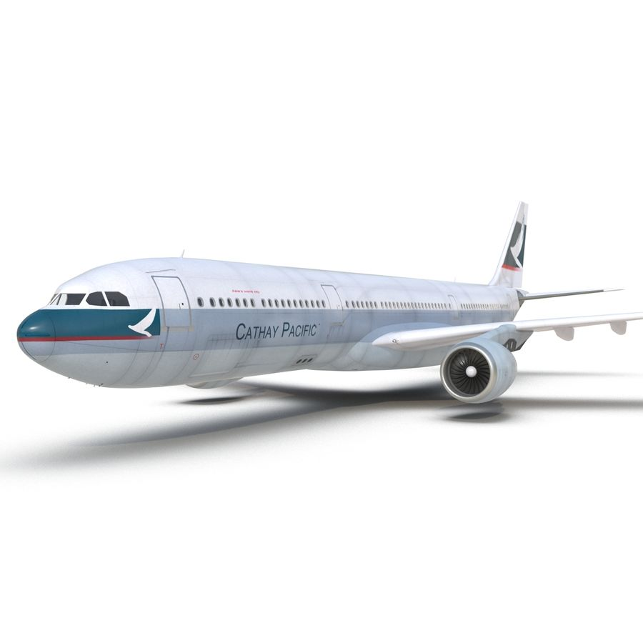 Jet Uçağı Airbus A330-300 Cathay Pacific royalty-free 3d model - Preview no. 26