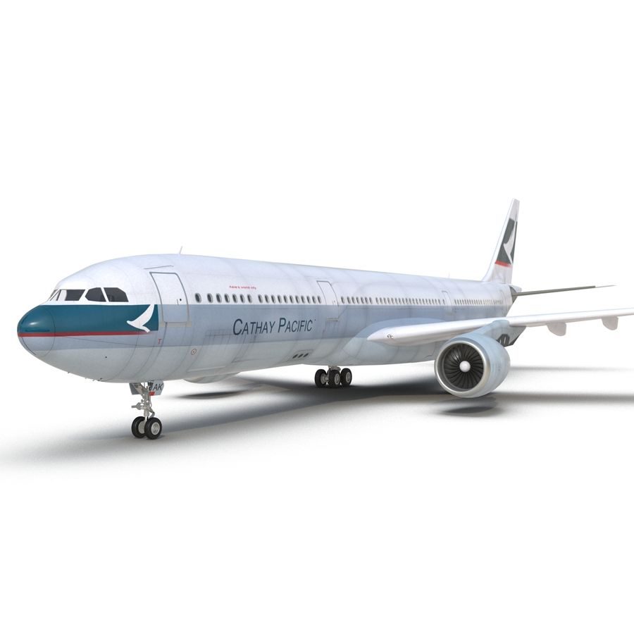 Jet Uçağı Airbus A330-300 Cathay Pacific royalty-free 3d model - Preview no. 25