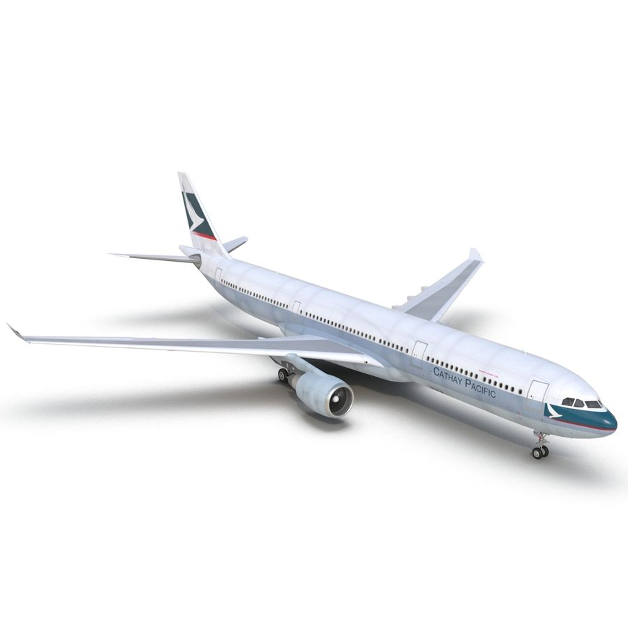 Jet Uçağı Airbus A330-300 Cathay Pacific royalty-free 3d model - Preview no. 17