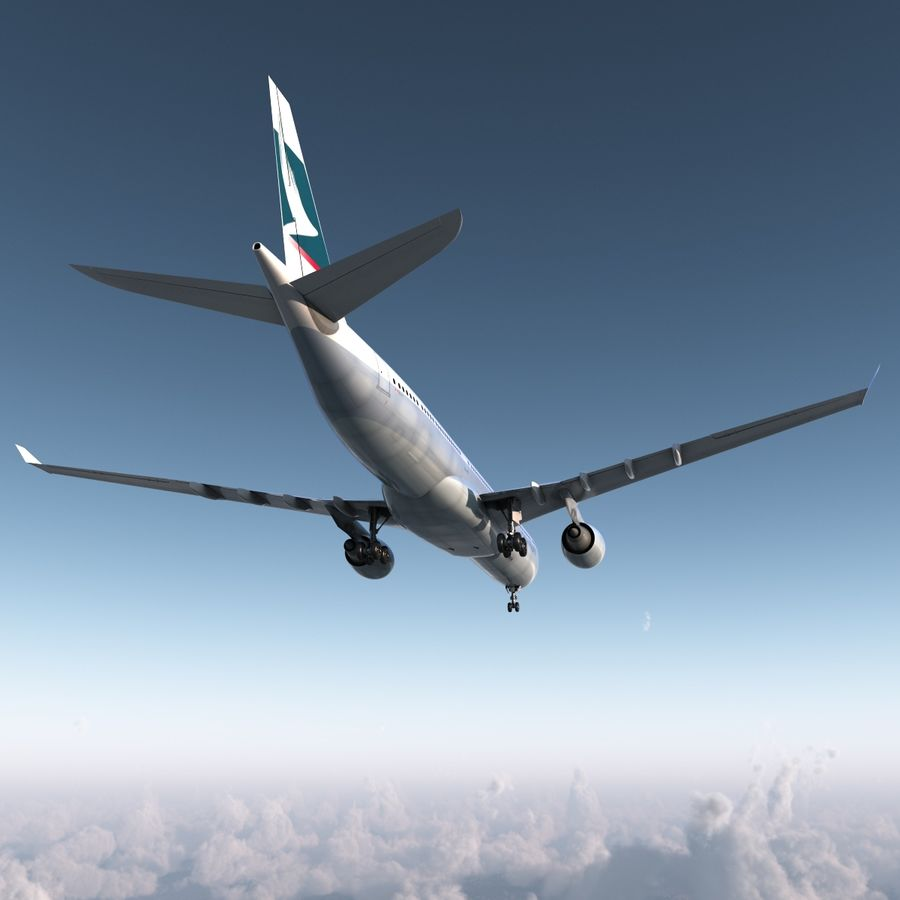 Jet Uçağı Airbus A330-300 Cathay Pacific royalty-free 3d model - Preview no. 9