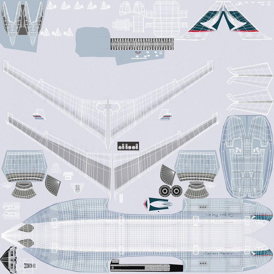 Jet Uçağı Airbus A330-300 Cathay Pacific royalty-free 3d model - Preview no. 39
