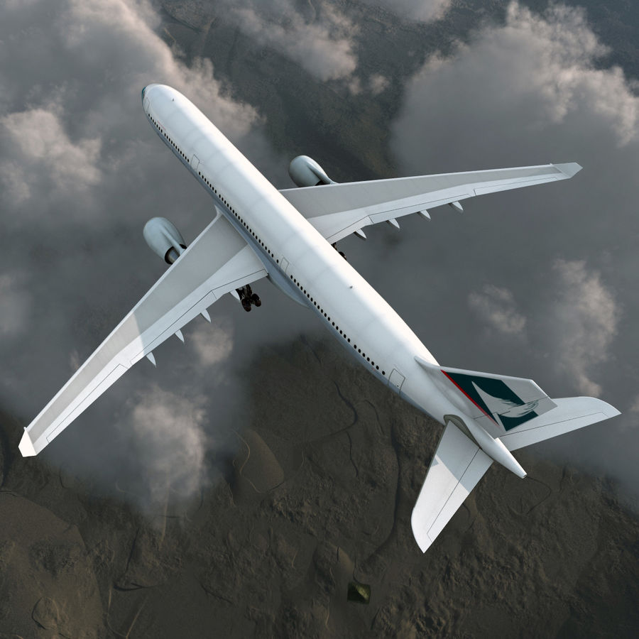 Jet Uçağı Airbus A330-300 Cathay Pacific royalty-free 3d model - Preview no. 6