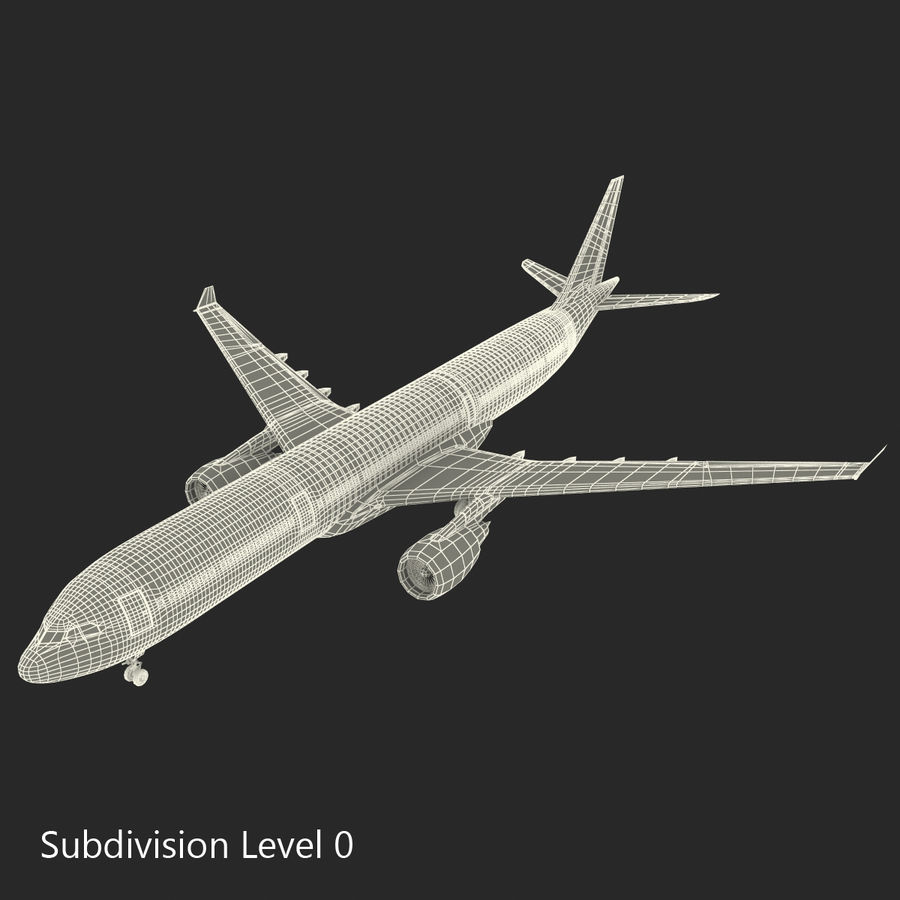 Jet Uçağı Airbus A330-300 Cathay Pacific royalty-free 3d model - Preview no. 37