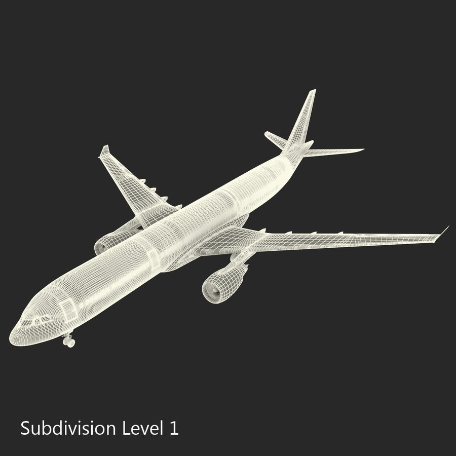 Jet Uçağı Airbus A330-300 Cathay Pacific royalty-free 3d model - Preview no. 38