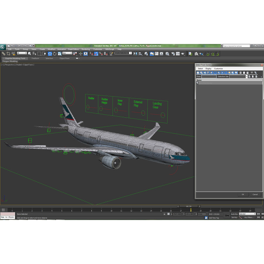 Airbus A330 P2F Cathay Pacific Arma royalty-free 3d model - Preview no. 44