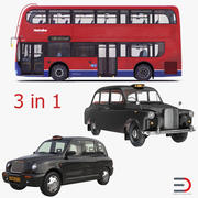 London Bus and Taxi Vehicle Set 3d model