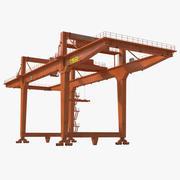 Кран козловой контейнерный на рельсах оранжевый 3d model