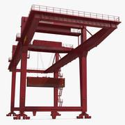 Козловой контейнерный кран на рельсах Красный и 40-футовый контейнер ISO 3d model