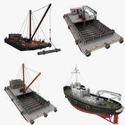 Żurawie pływające jednostek pływających 3d model