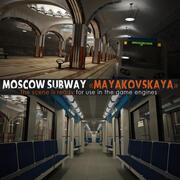 Metrô de Moscou com trem 3d model