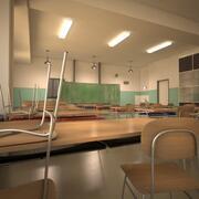 Cartoon Classroom 3d model