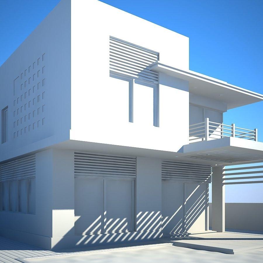 Modern Villa 01 royalty-free 3d model - Preview no. 7