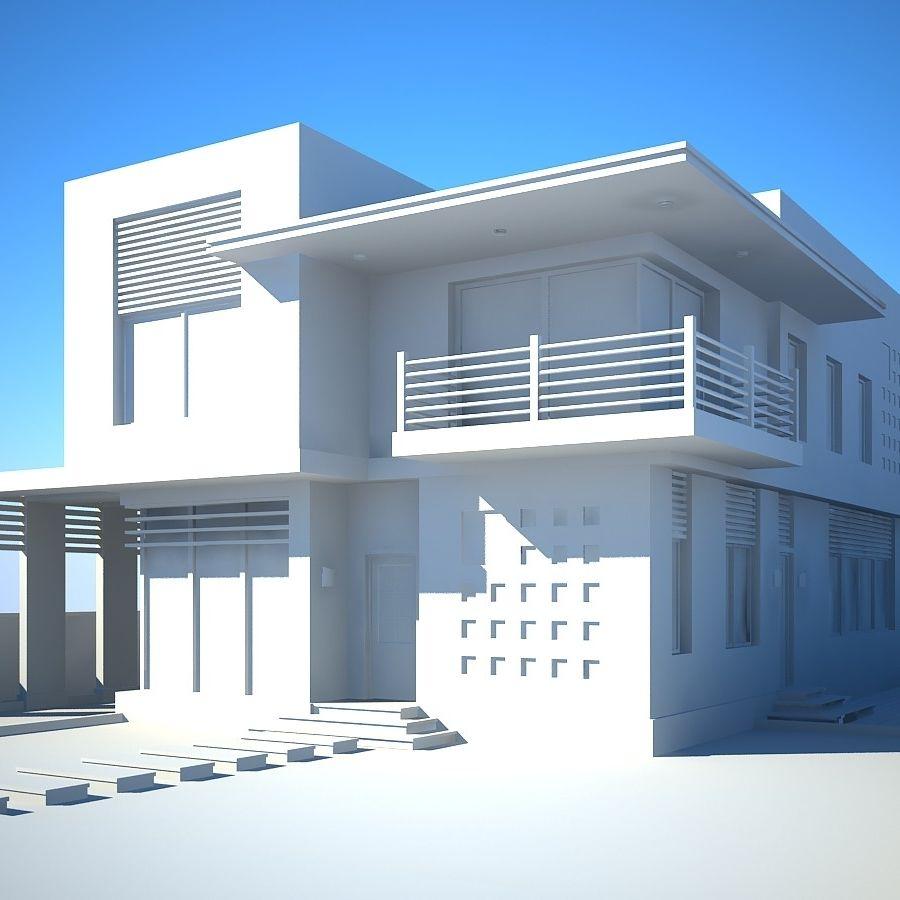 Modern Villa 01 royalty-free 3d model - Preview no. 6