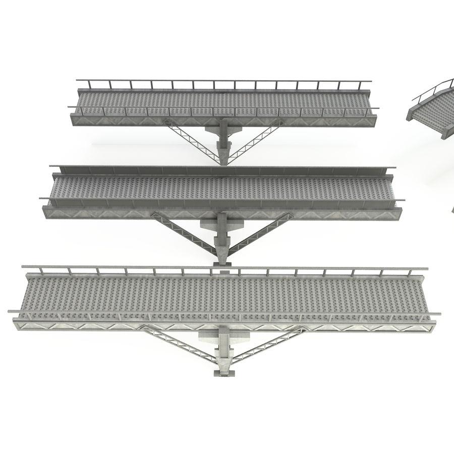 Bande transporteuse LOD - Section incurvée et droite royalty-free 3d model - Preview no. 3