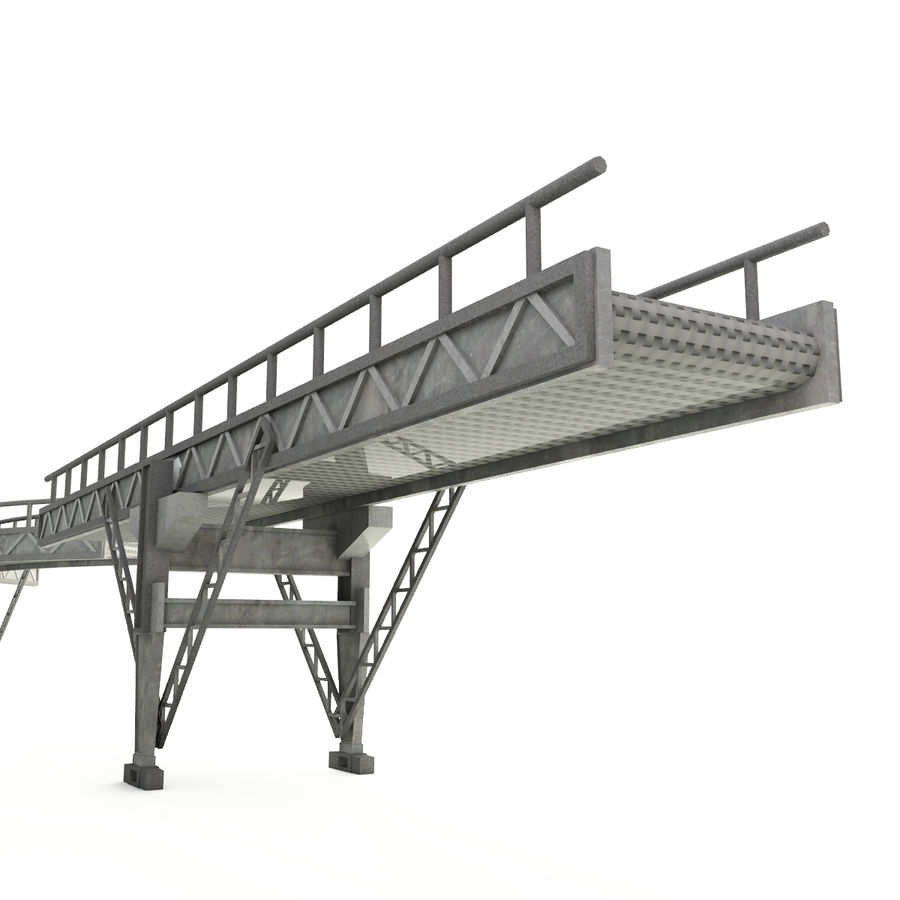 Bande transporteuse LOD - Section incurvée et droite royalty-free 3d model - Preview no. 5