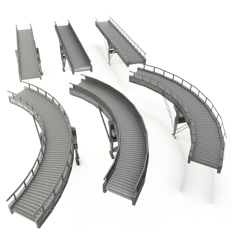 Bande transporteuse LOD - Section incurvée et droite royalty-free 3d model - Preview no. 1