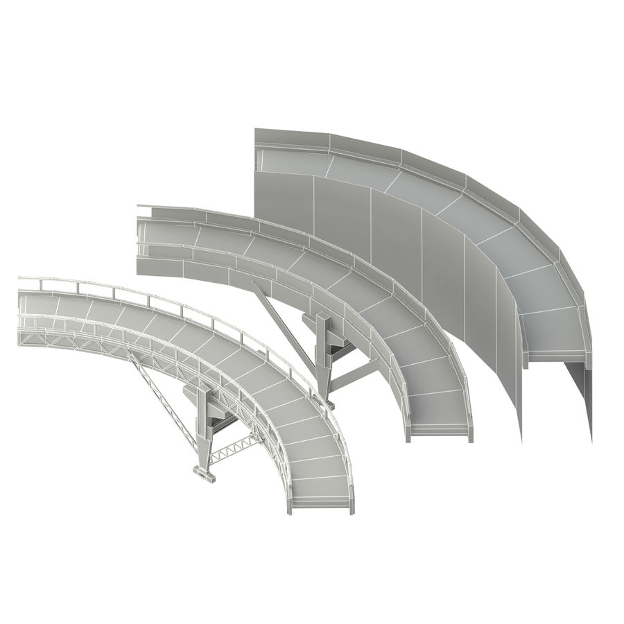 Bande transporteuse LOD - Section incurvée et droite royalty-free 3d model - Preview no. 9