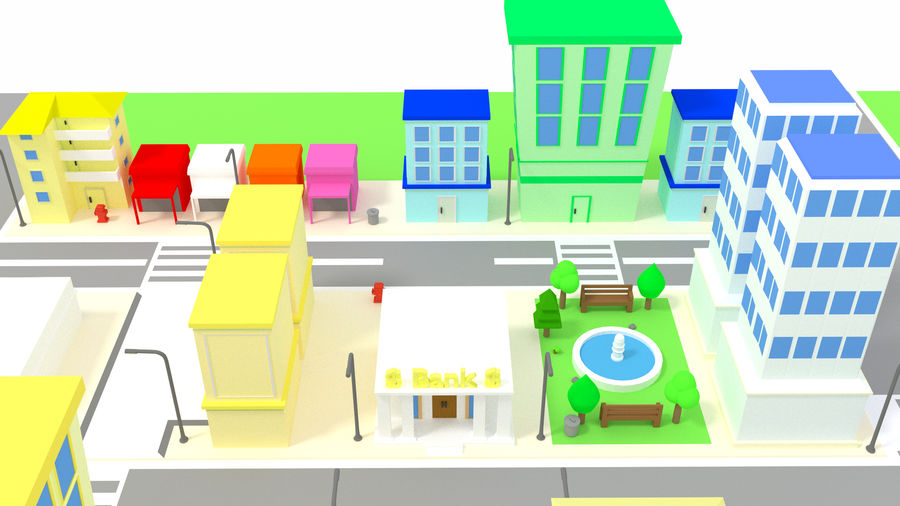 Cartoon City royalty-free 3d model - Preview no. 7