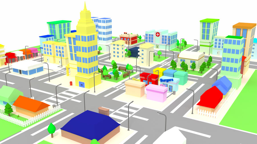 Cartoon City royalty-free 3d model - Preview no. 1
