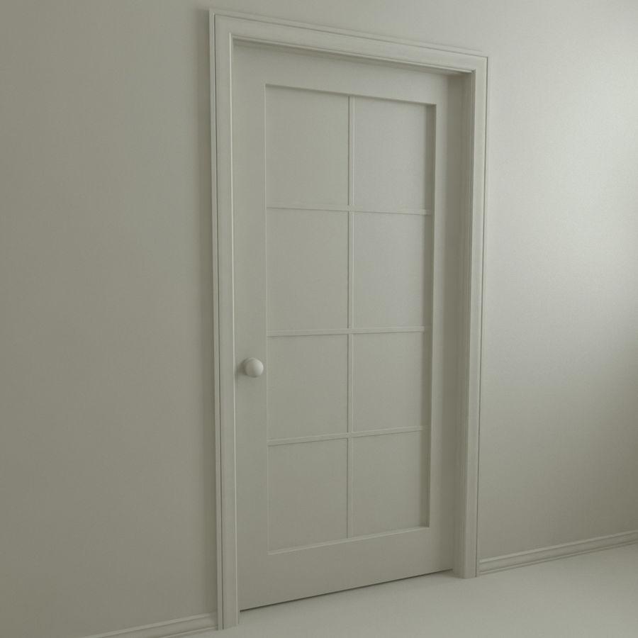 Дверь - 1 стеклянная панель с мунтинами royalty-free 3d model - Preview no. 3