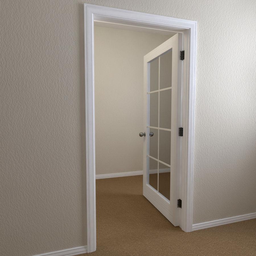 Дверь - 1 стеклянная панель с мунтинами royalty-free 3d model - Preview no. 2