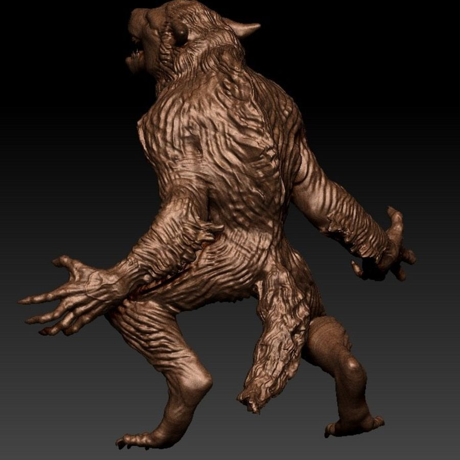 hombre-lobo royalty-free modelo 3d - Preview no. 3