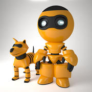 Robot and dog 3d model