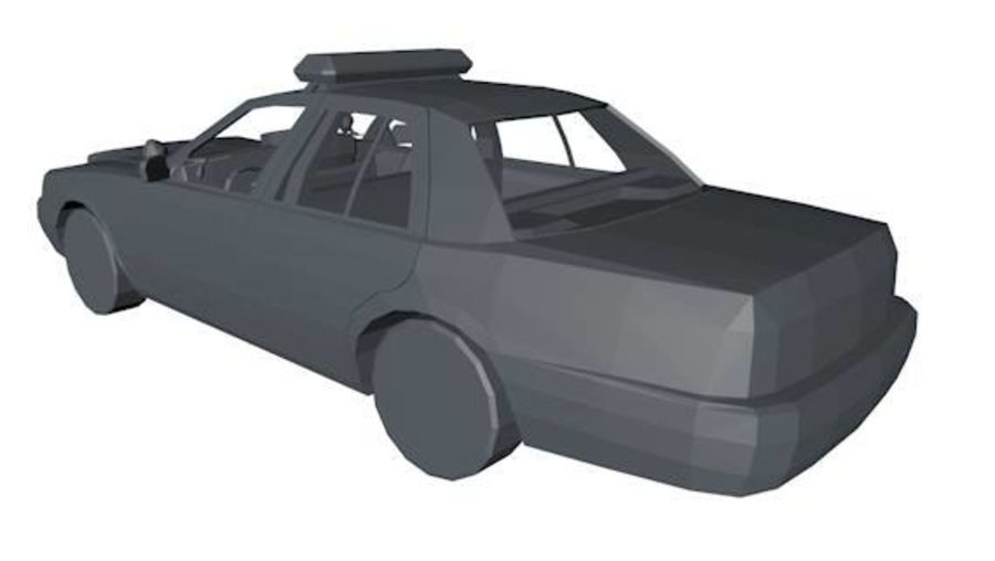Низкополигональная полицейская машина royalty-free 3d model - Preview no. 3